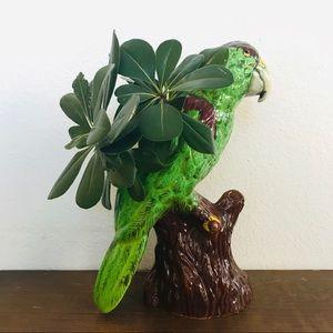 Oversized Vintage MCM pottery parrot vase